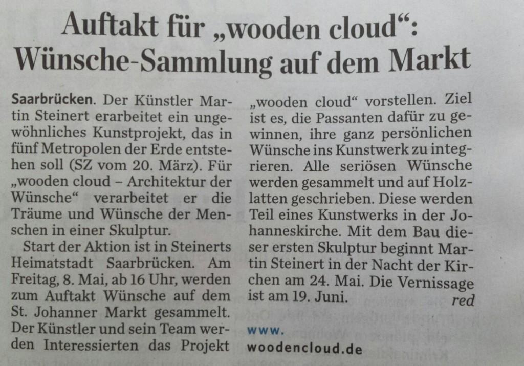"""Saarbrücker Zeitung vom 02. Mai 2015 zum Auftakt von """"wooden cloud"""""""